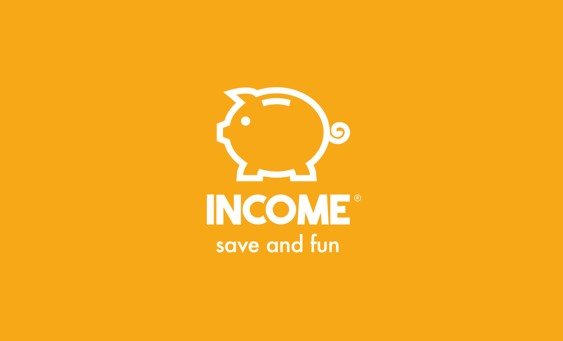 Income. Save and fun! <i>Logo design, grafica coordinata, app design e comunicazione</i>