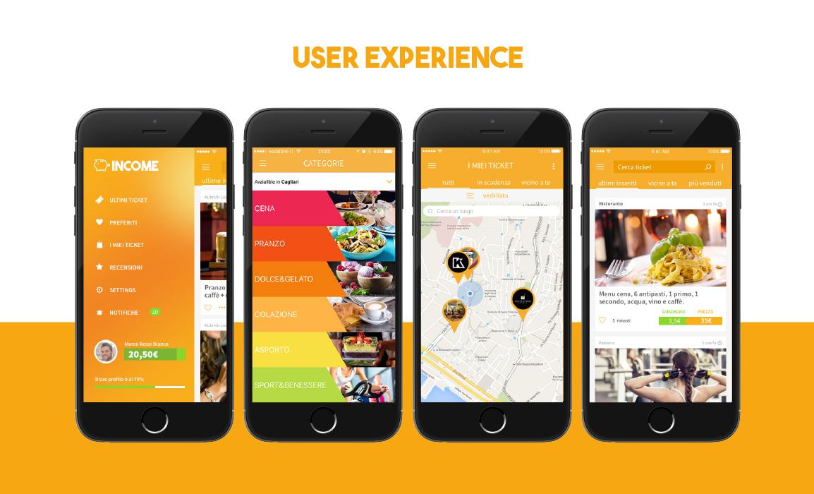 Income. Design dell'app e della user experience.