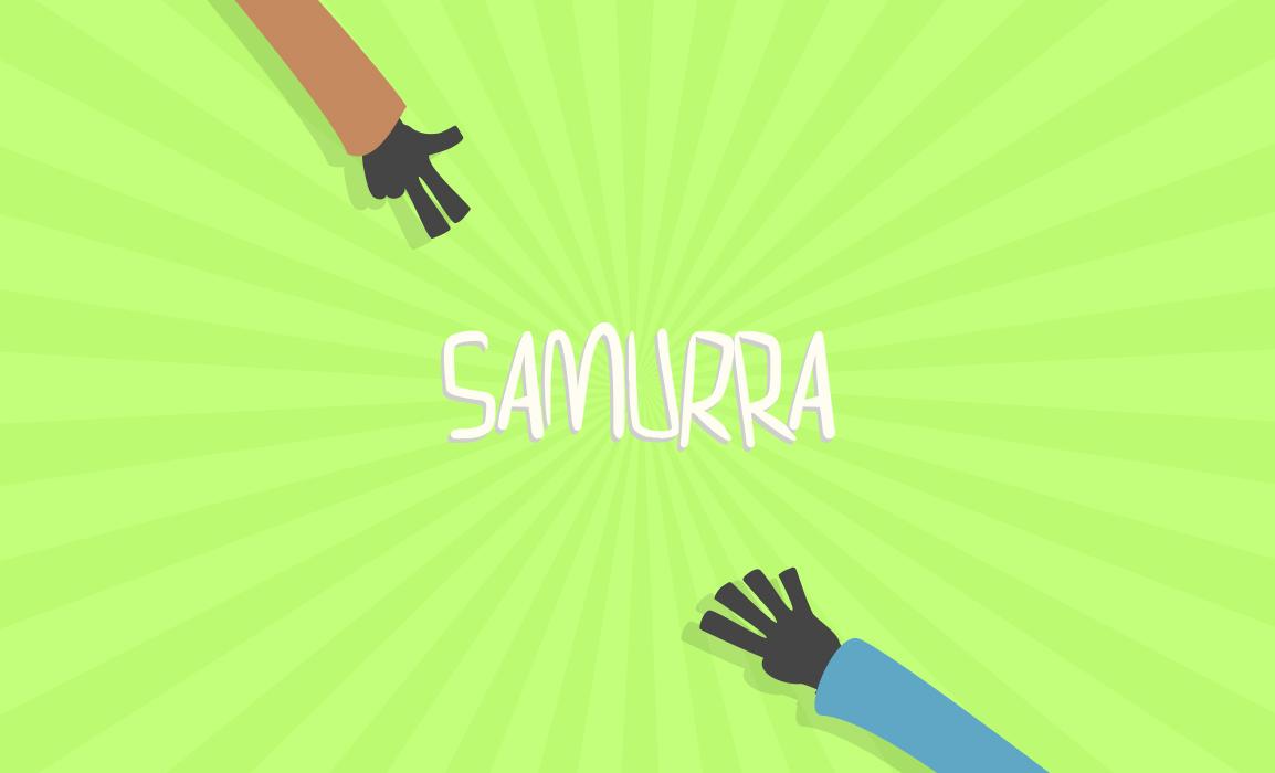 Samurra logo. Studio del logo e ricerca stilistica. L'unica app per giocare alla morra.