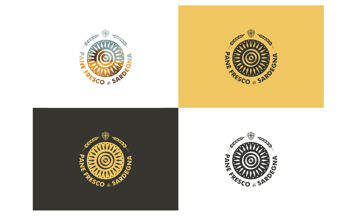 Varianti del marchio Pane Fresco di Sardegna. Elaborato per il bando regio sulla creazione di un marchio per la tutela del pane fresco di Sardegna.