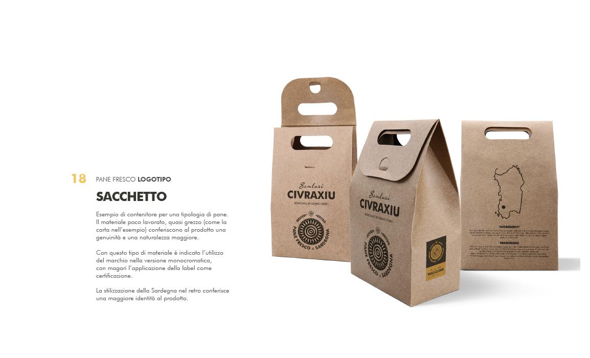 Applicazione nel packaging. Elaborato per il bando regio sulla creazione di un marchio per la tutela del pane fresco di Sardegna.