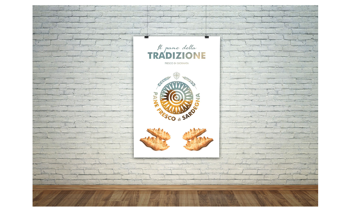 Esempio di comunicazione pubblicitaria. Elaborato per il bando regio sulla creazione di un marchio per la tutela del pane fresco di Sardegna.