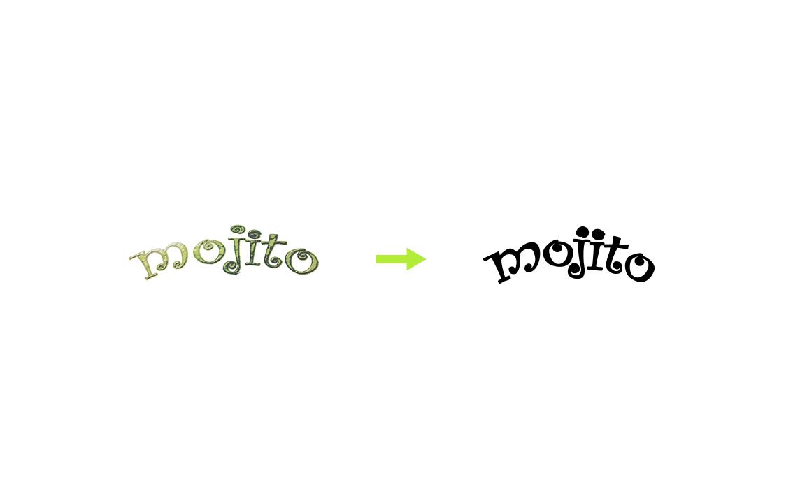 Restyling logo Mojito. Old Stones Design, restyling del logo storico del Mojito Cocktail Bar di Cagliari (processo di restyling).