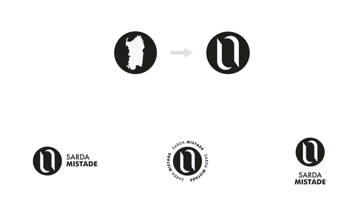 Processo di sintesi della Sardegna per la realizzazione del marchio. Prove di Lettering.