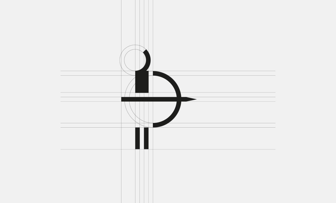 Struttura geometrica del marchio con vettori e linee forza.