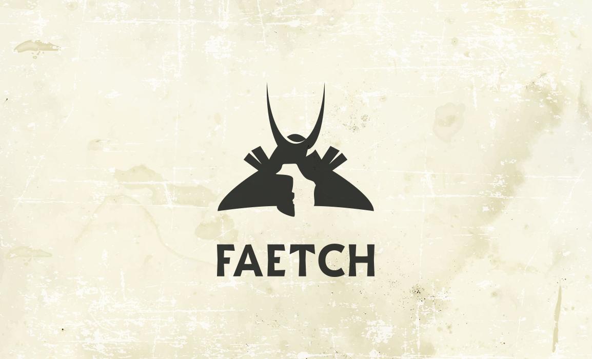 Studio del logotipo FAETCH. Il simbolo riprende un Kabuto Giapponese; l'azienda produce accessori e capi d'abbigliamento in stile giapponese.