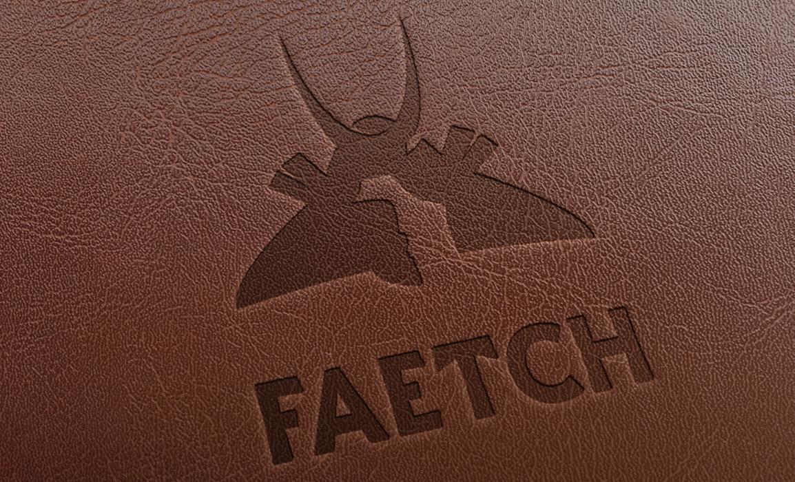 Faetch, logo design. Mockup con impressione su cuoio.
