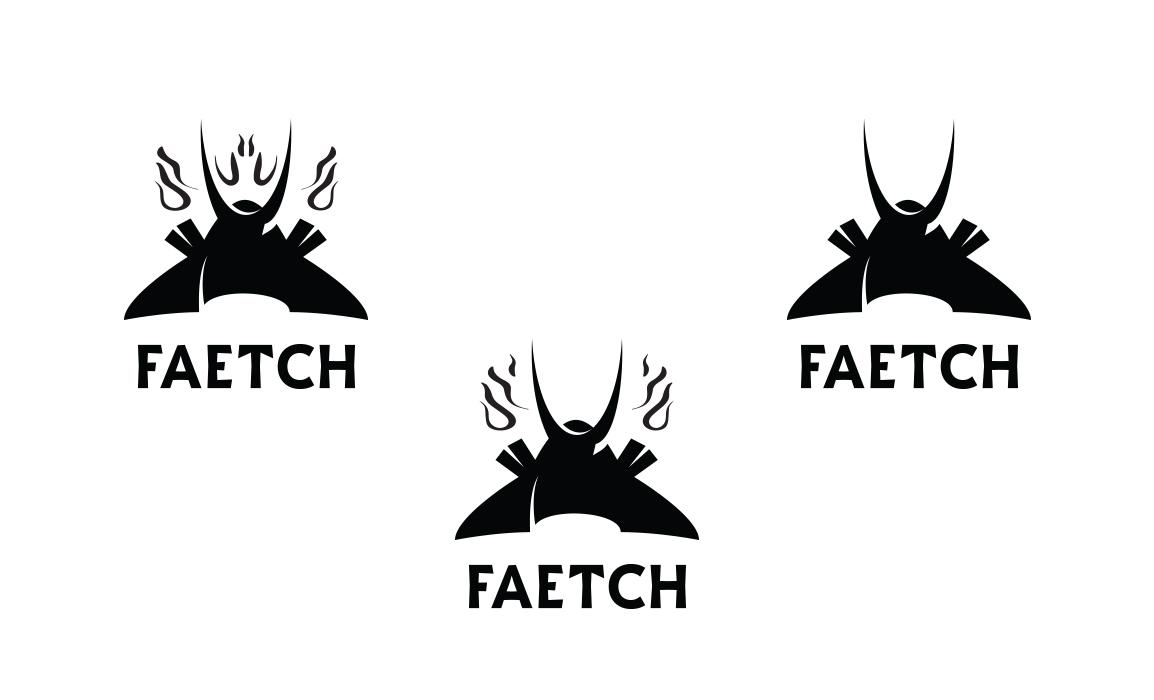 Faetch, logo design. Prove del kabuto senza il volto umano.