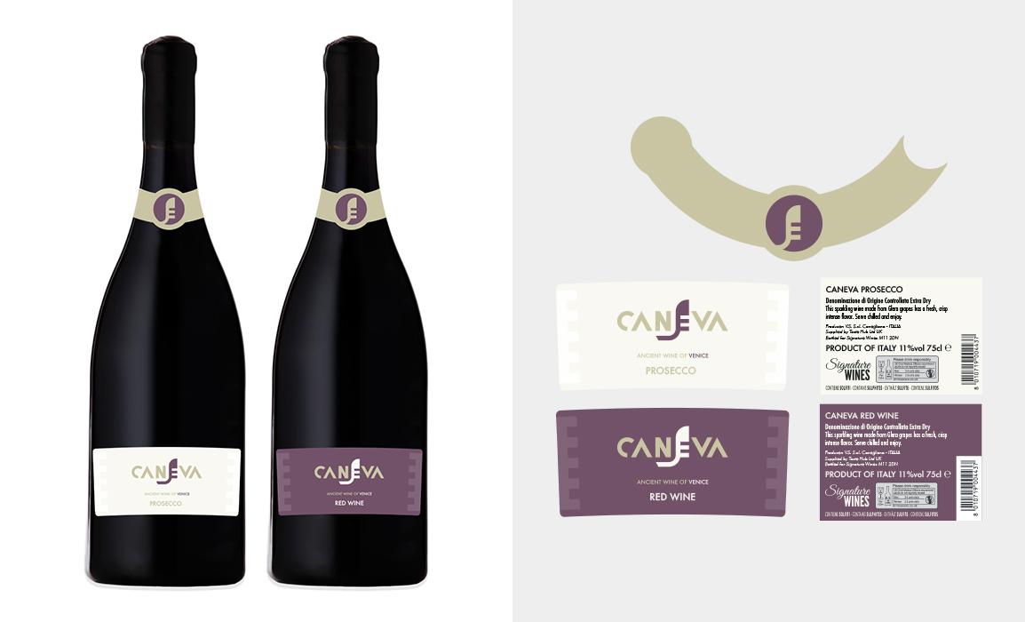 Realizzazione delle etichette per il vino veneziano. Mockup con applicazione d'esempio.