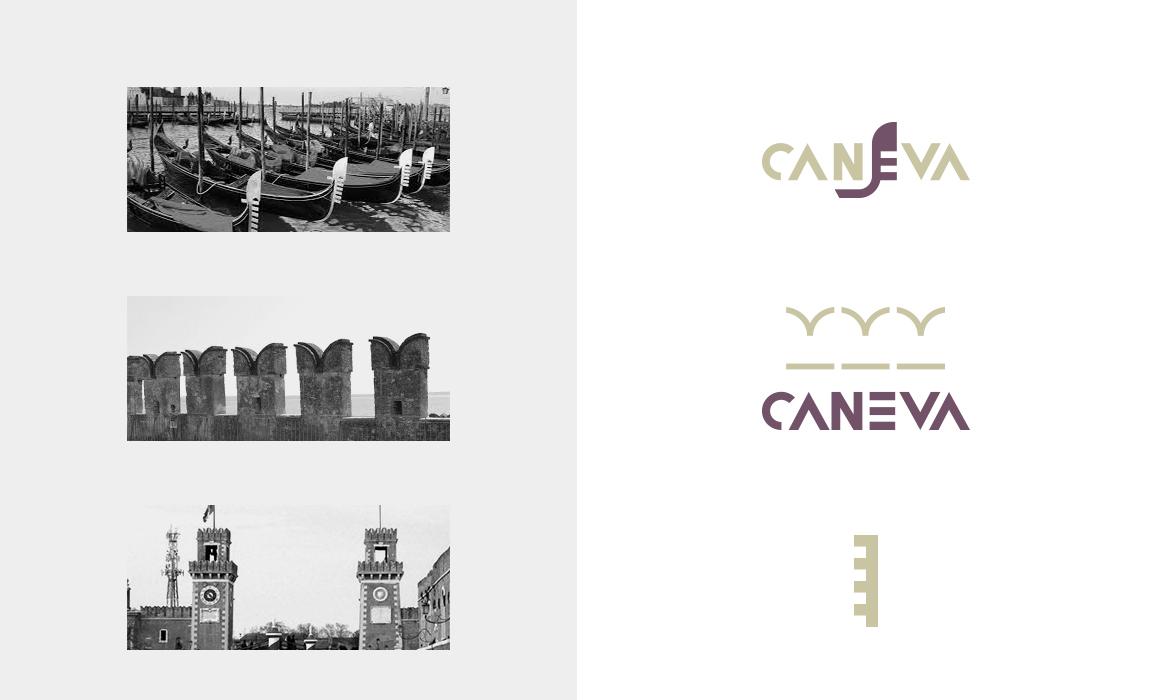 Fase di brain storming con ricerca stilistica. Stilizzazione del dettaglio della gondola veneziana, stilizzazione del merlo architettonico presente nelle torri dell'Arsenale veneziano e sintesi del motivo decorativo presente negli angoli delle torri dell'Arsenale.