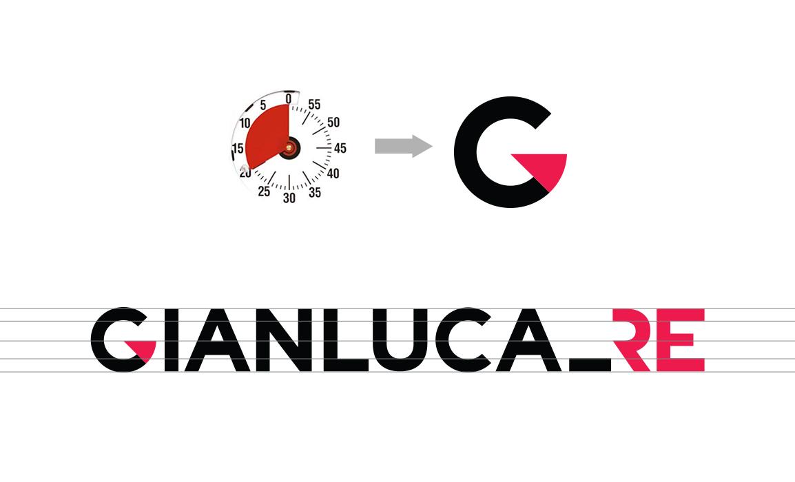 Processo di astrazione del cronometro e linee di costruzione del logotipo.