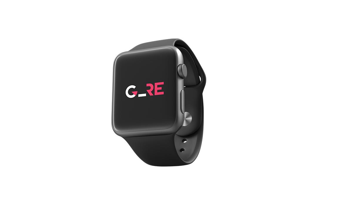 Esempio di applicazione del marchio nella versione responsive in un dispositivo Apple Watch.