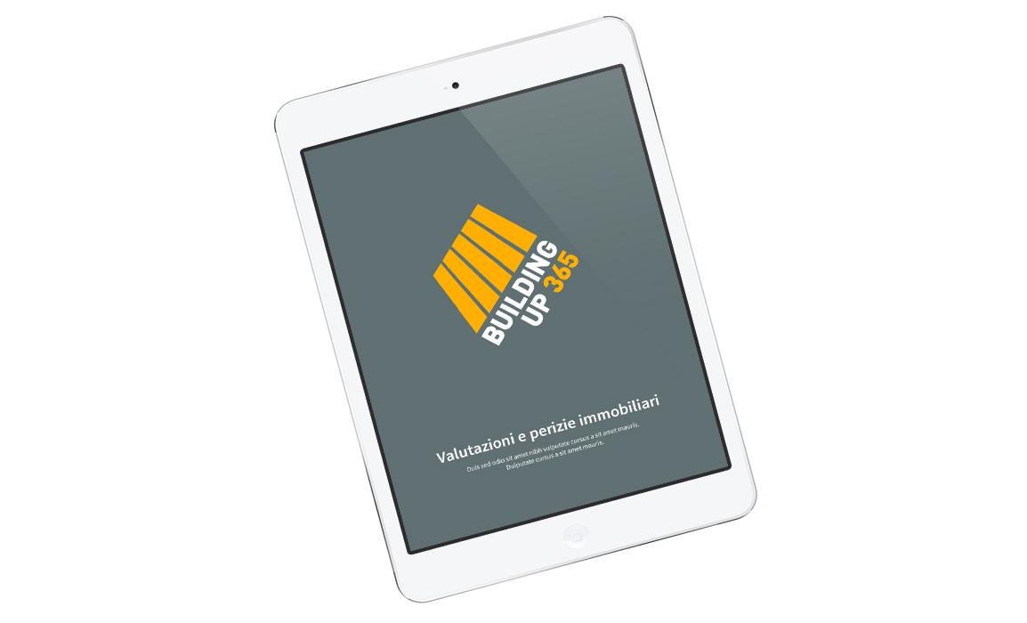 Studio grafico della splash screen dell'applicazione Building Up 365. Il fondo grigio/blue stacca come complementare dai colori utilizzati nella progettazione del logo.