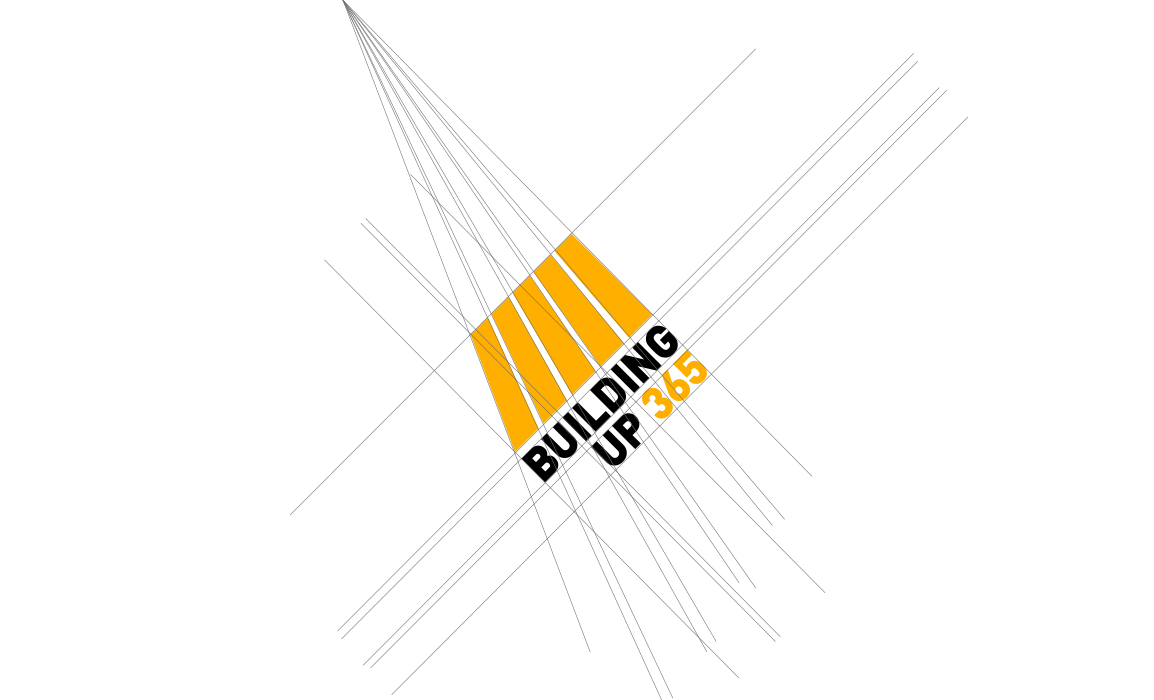 Progettazione grafica del marchio con le linee di costruzione. Il marchio rispetta una prospettiva centrale e la proporzione aurea nello sviluppo verticale.