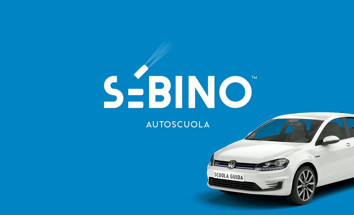 Logo design per l'autoscuola Sabino. il marchio vuole suggerire un auto intenta in una manovra.