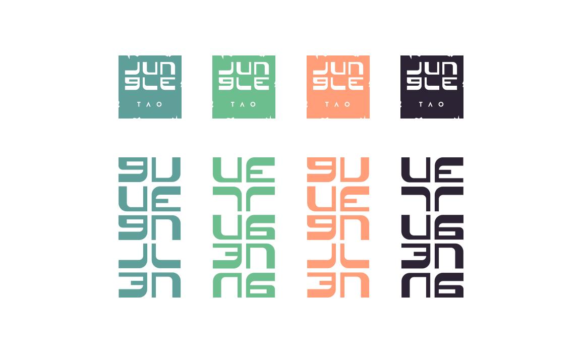 Studio dell'accostamento cromatico. Utilizzo dei versi per rafforzare il concetto della giungla e dell'arancio per evocare il colore della brace.
