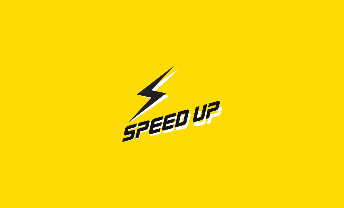 Il logo rappresenta il concetto di accelerazione. Versione del logo su sfondo colorato.