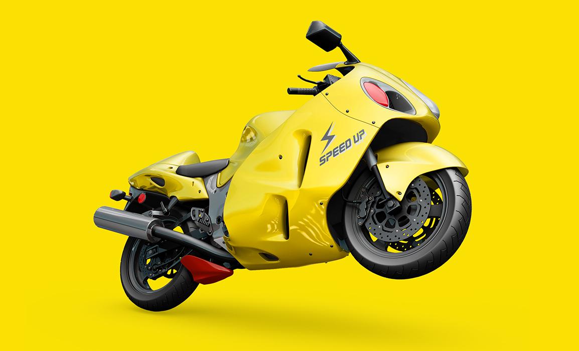 Applicazione del logo sulla carena di una moto.