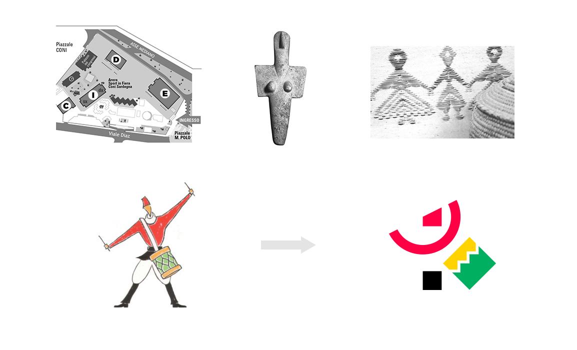 Il marchio è una stilizzazione grafica del precedente logo, il tamburino sardo. Vi è una chiara ispirazione alla cultura tradizionale con un richiamo alla mappa aerea dell'impianto fieristico.
