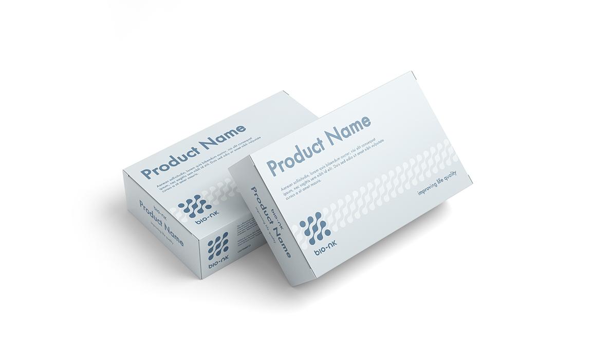 Esempio di applicazione del pattern e del logo in un packaging del settore.