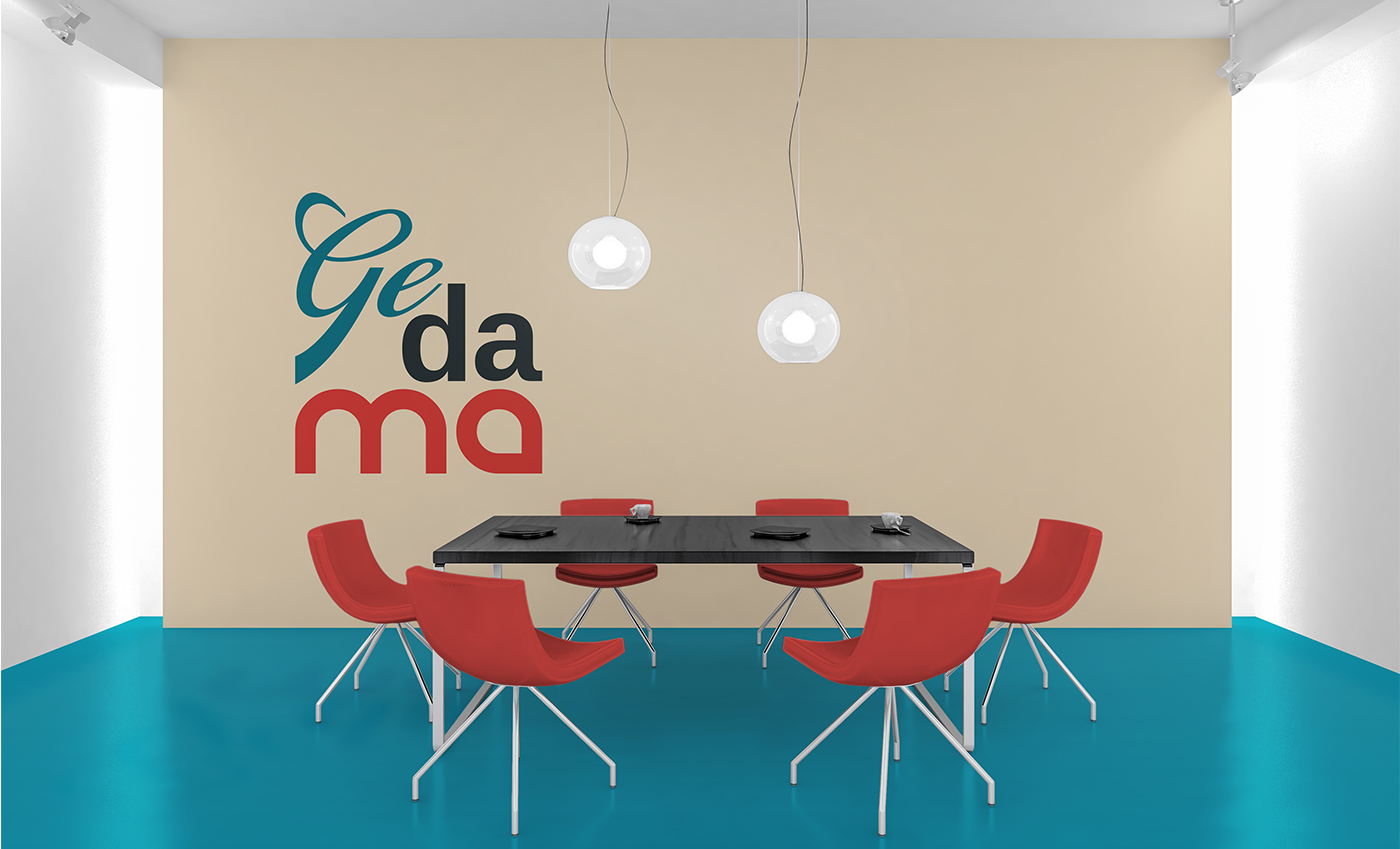 Applicazione del logo come elemento decorativo in una sala meeting.