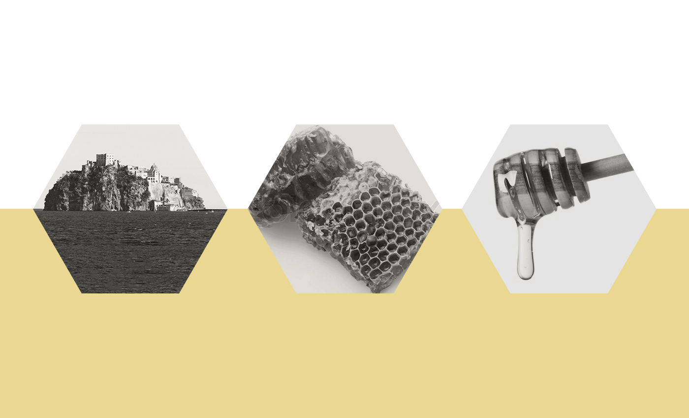 Concept derivato dal profilo dell'isola, dall'alveare e dagli strumenti utilizzati per la vendita del miele.