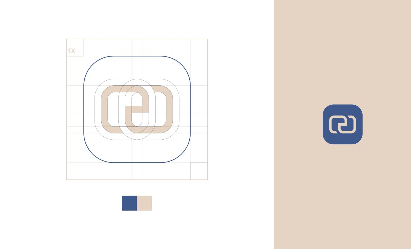 Griglia di costruzione e area di rispetto del marchio/icona con accostamento cromatico.