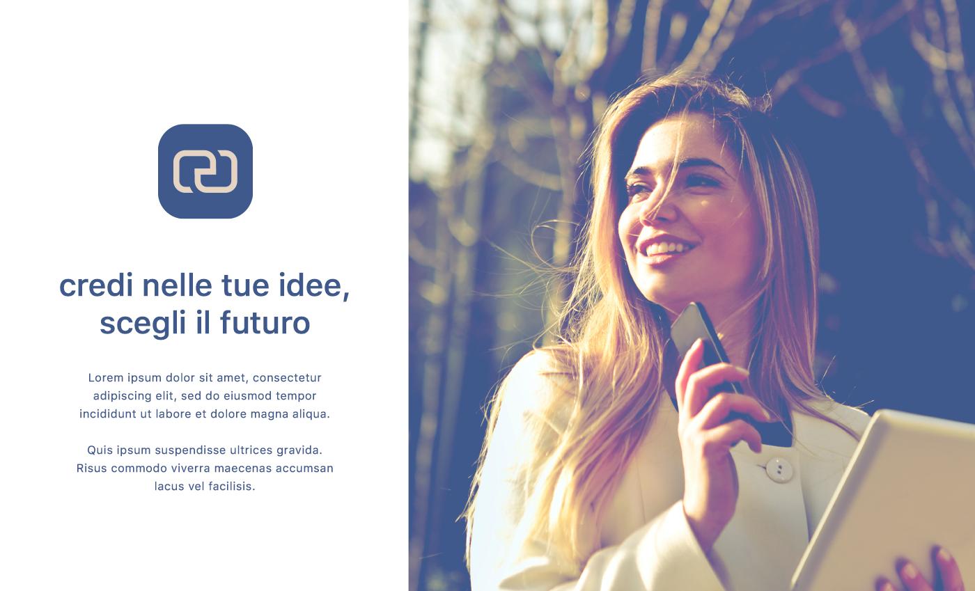 Esempio di comunicazione con il marchietto privo di logotipo, una immagine evocativa e un lancio pubblicitario.
