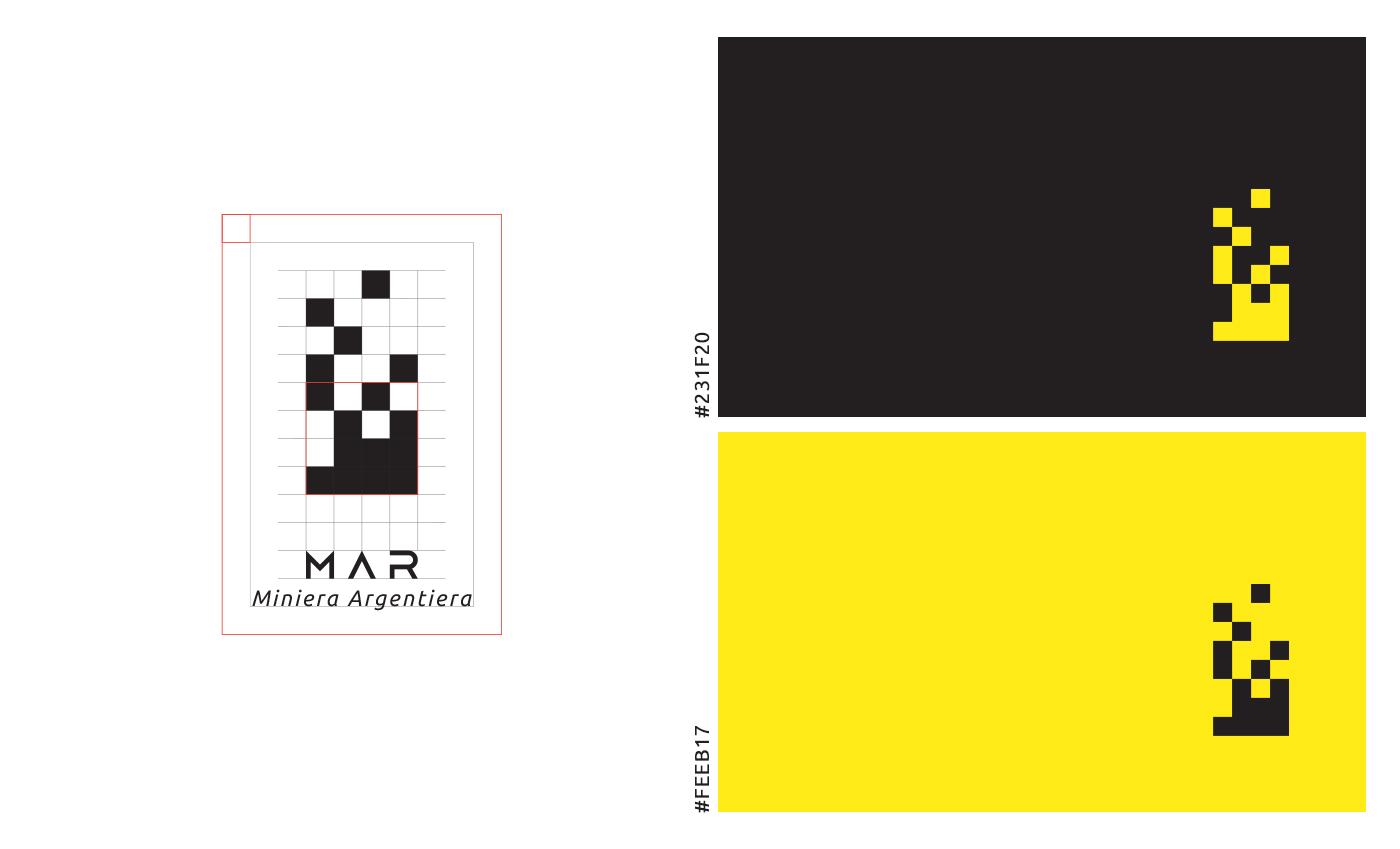 """Il logo è sviluppato su una griglia regolare che ha origine dal quadrato che si sta idealmente """"componendo"""". L'accostamento cromatico riprende in parte la palette attuale del museo per facilitare la sostituzione del logo. Il lettering utilizzato è ispirato anch'esso agli elementi architettonici del borgo (finestre ad arco e tetti a spiovente)."""