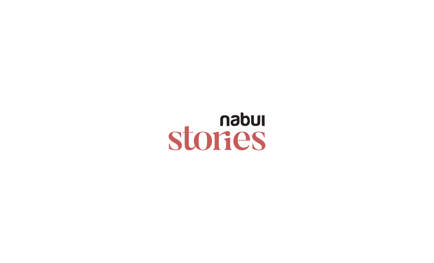 Abbinamento del logo Nabui semplificato, con il font Butler modificato su misura.