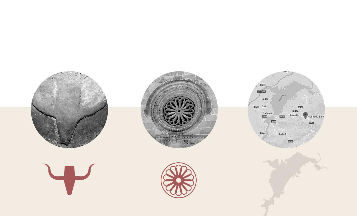 I pittogrammi stilizzano i 3 simboli del territorio di Nughedu Santa Vittoria: l'incisione pre-nuragica nelle domus de janas di Goi, il rosone della chiesa di San Giacomo Apostolo e il bacino del Lago Omodeo.