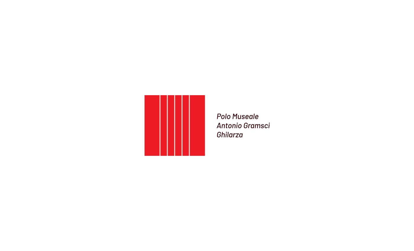 Il logo rappresenta il carcere, elemento protagonista della vita di Gramsci. Il fon in corsivo bilancia la rigidità del marchio suggerendo un pensiero dinamico.