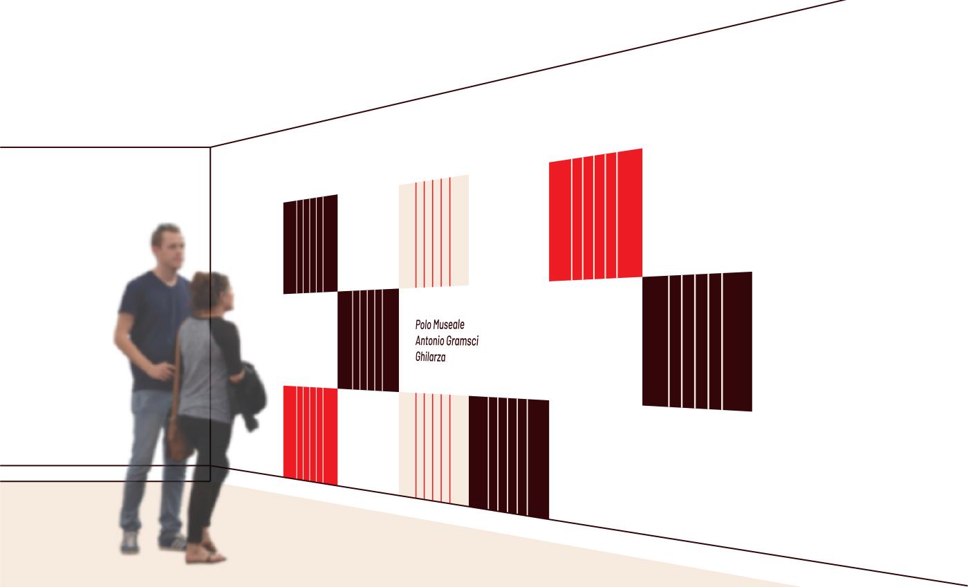 Applicazione del pattern su una parete del museo.