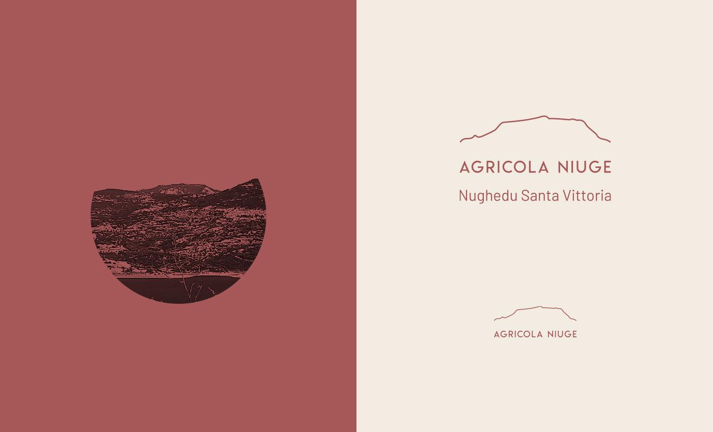 Il logo ideato per la società Agricola Niuge riprende lo skyline del profilo del monte che svetta nel territorio del comune.